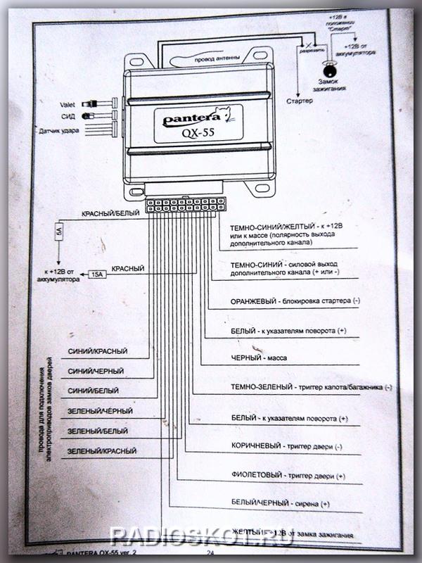 Схема подключения сигнализации пантера qx 44