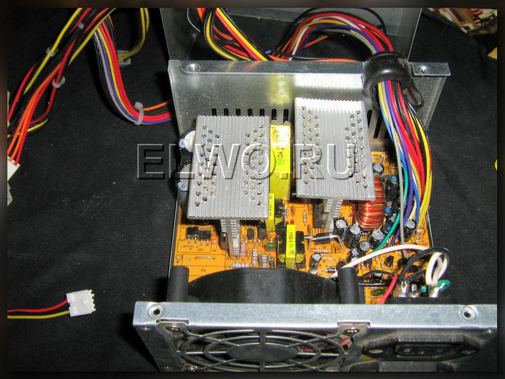 Схема запуск блока питания компьютера.
