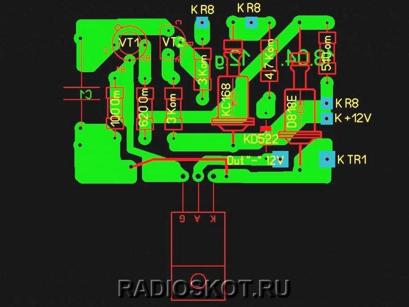 Рисунки печатных плат десульфатирующего зарядного устройства
