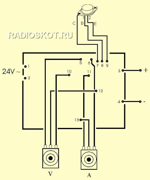 Подключение переменных резисторов к блоку питания