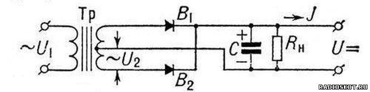 Схема двухполупериодный выпрямитель со средней точкой