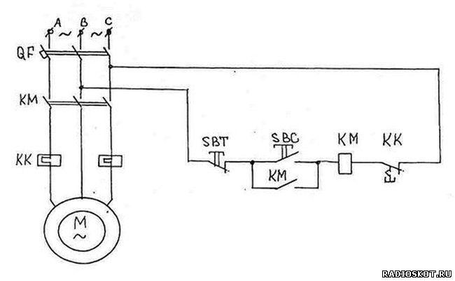 Схема нереверсивного пуска электродвигателя