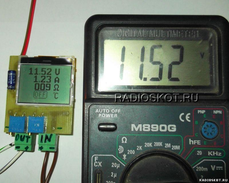 Работа цифрового ампервольтметр на микроконтроллере и ЖК