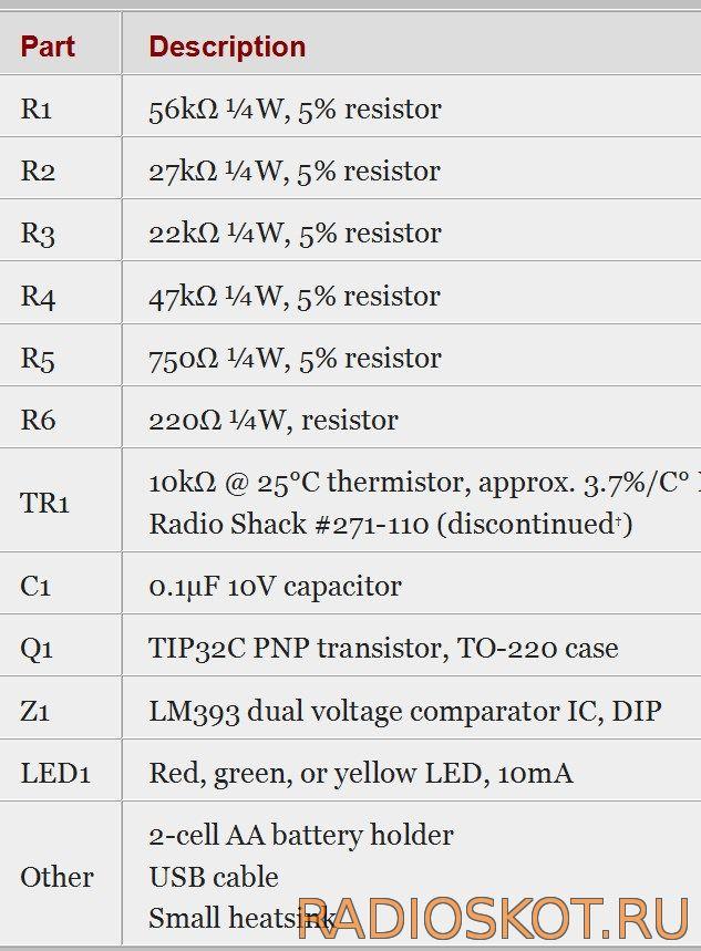 Детали для простого зарядного USB - АА