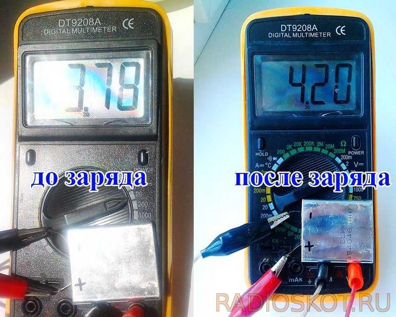 измерение вольтажа li-ion аккумулятора