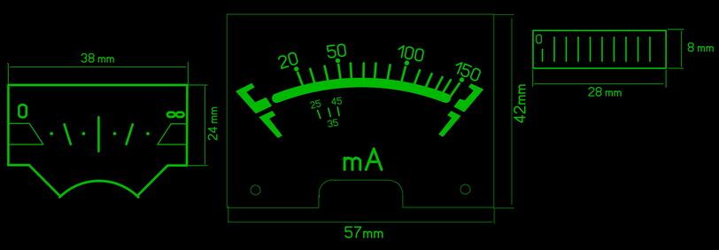 стрелочный индикатор уровня - шкала
