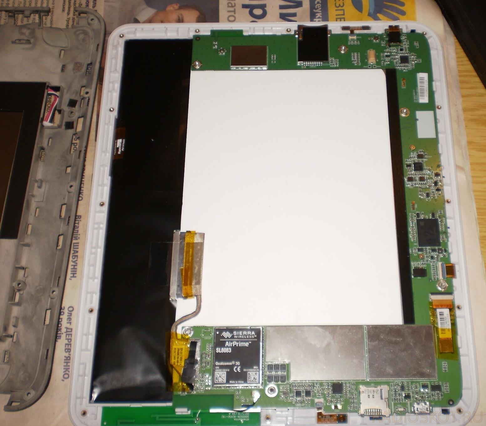 ремонт - снять плату с планшета