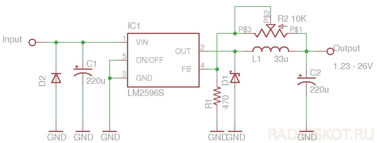 Схема преобразователя DC-DC на LM2596
