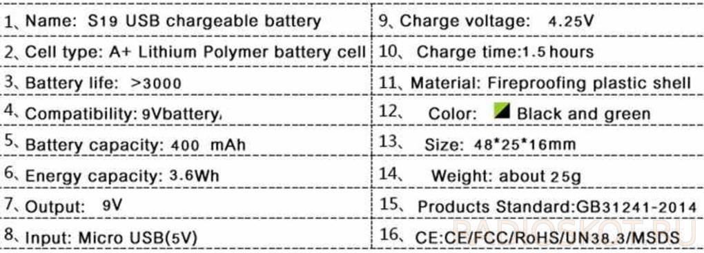 акб крона 9 ли-по параметры