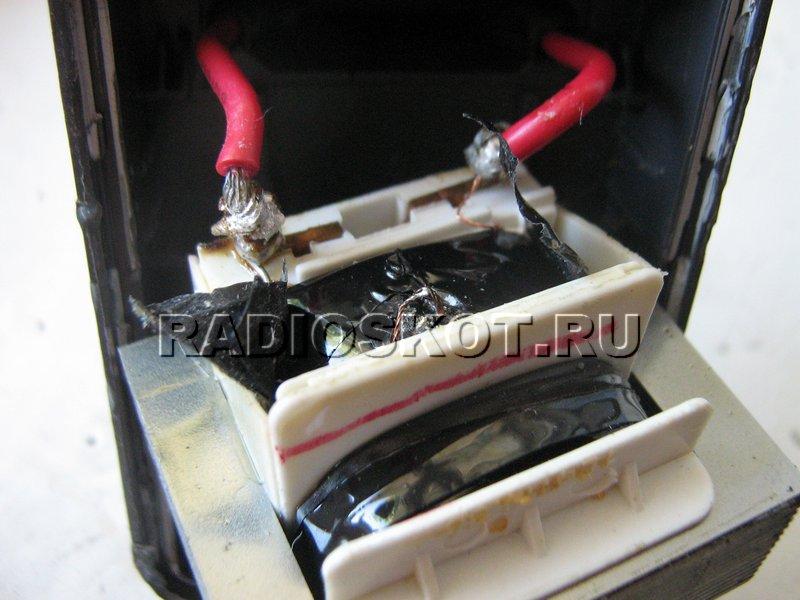 Обрыв провода в сетевой обмотке трансформатора