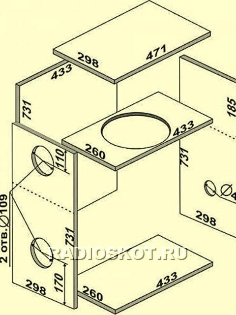 Как сделать короб под сабвуфер схема 105
