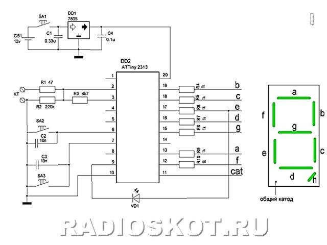 Схема устройства для эмуляции ключей очень проста.  Основа - микроконтроллер ATTiny2313, для индикации я использовал...