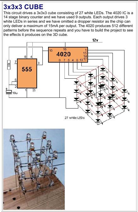 Схема светодиодого куба на микросхемах.