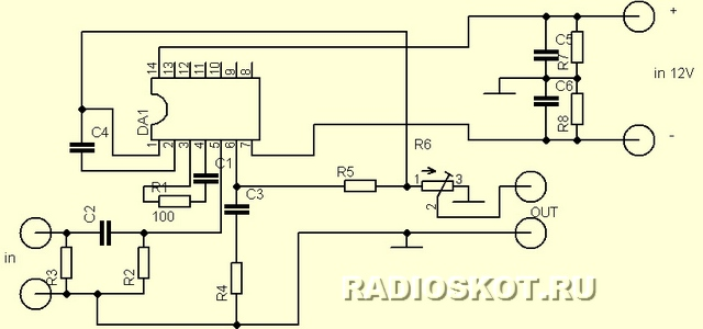 Предлагаю для повторения схему микрофонного предусилителя на базе ОУ КР551УД2А.