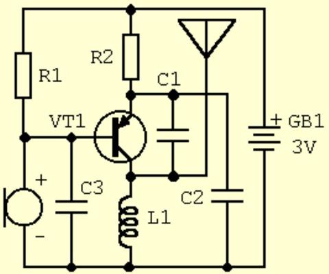 схема простого радио жучка