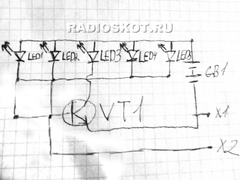 Схема цветомузыки. Светодиоды