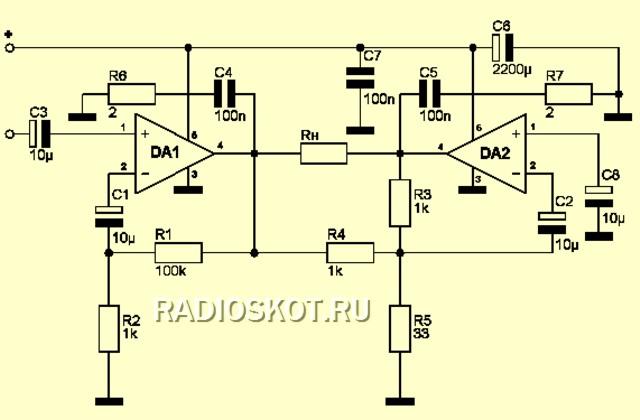 TDA2003 мостовая схема
