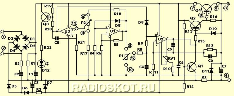 Радиосхема лабораторного источника питания