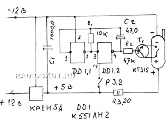 Стабилизатор КРЕН5А и конденсатор С1 обеспечивает стабильное напряжение 5 В. для питания микросхемы DD1 К551ЛН2 и...