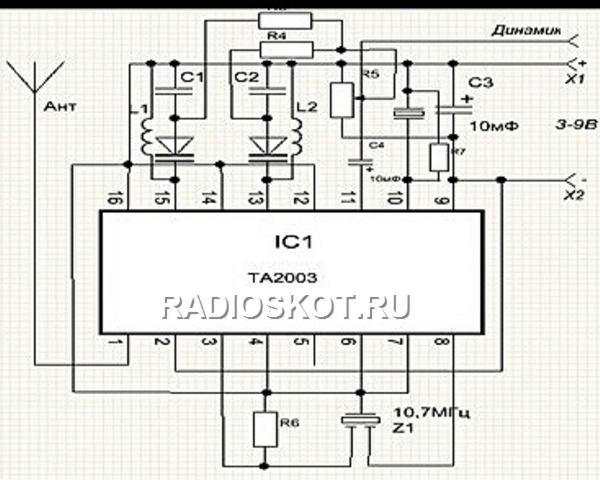 Схема радиоприёмника диапазона