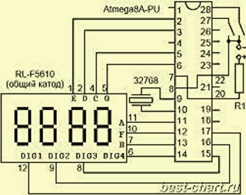 Схема часов на Atmega8