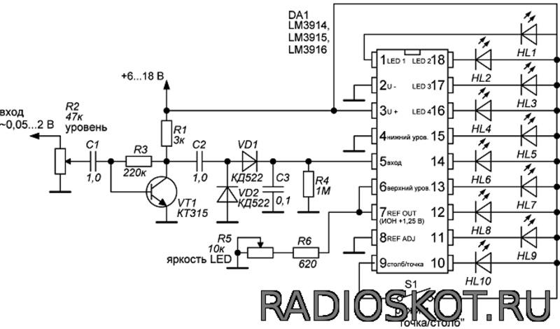 Схема LED индикатора звука