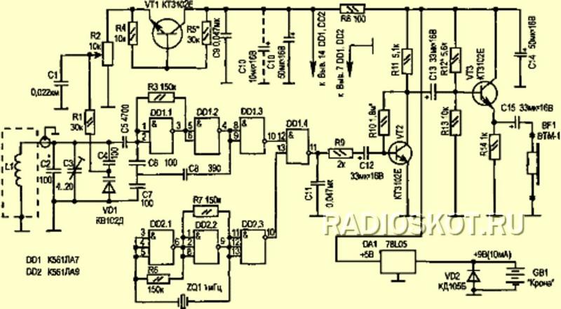 схема металлоискателя для
