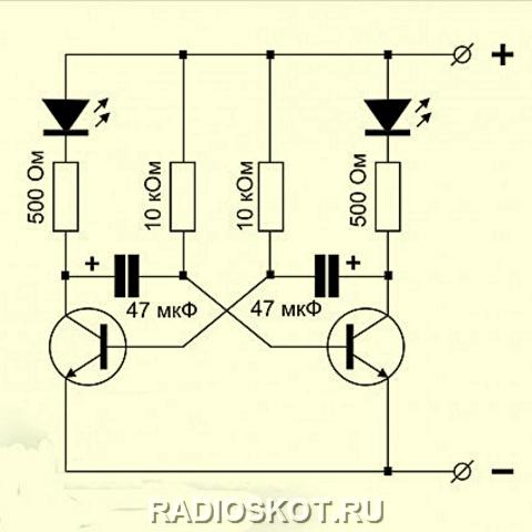 Электрическая схема мультивибратора