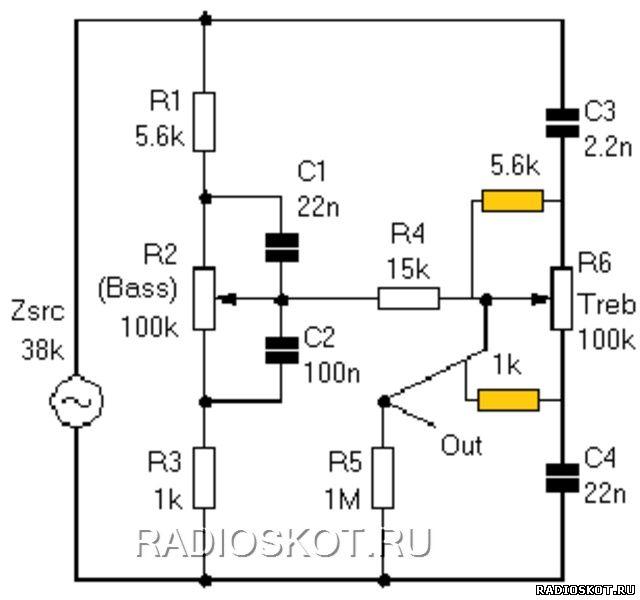 Принципиальная схема пассивного темброблока