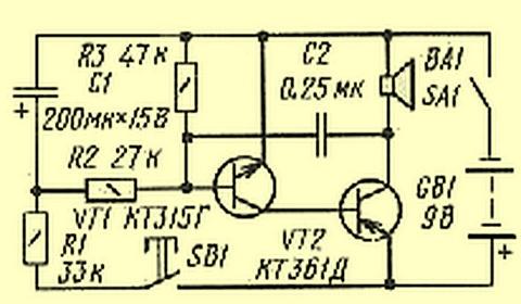 Схема электронной сирены на