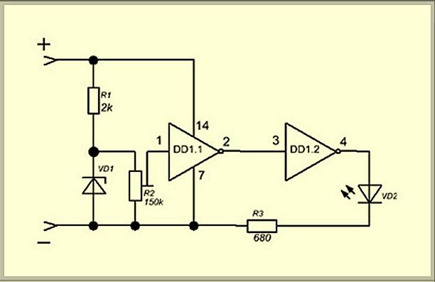 Схема блока индикации разряда аккумулятора