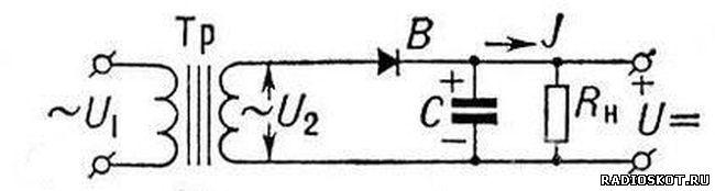Схема однополупериодный выпрямитель
