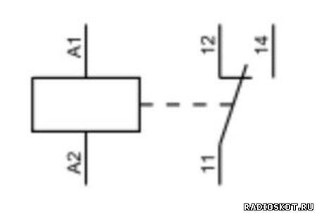 Схематическое обозначение катушки и контактов