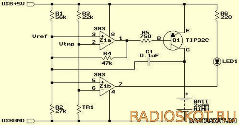 Схема простого зарядного USB -