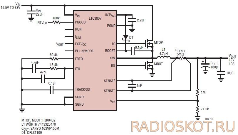 LTC3807 - схема стабилизатора
