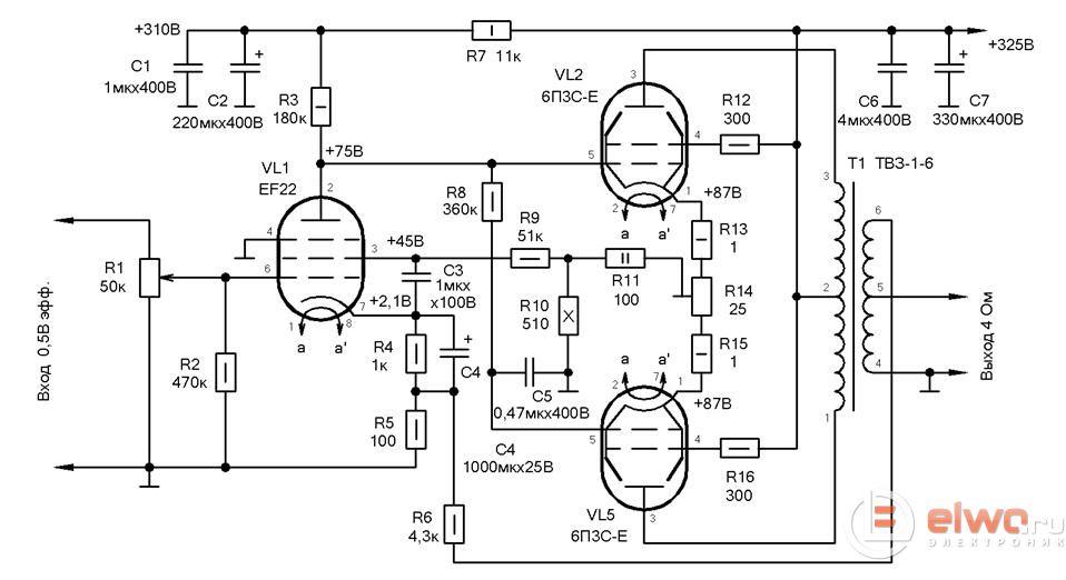 Ламповый на 6п6с схема
