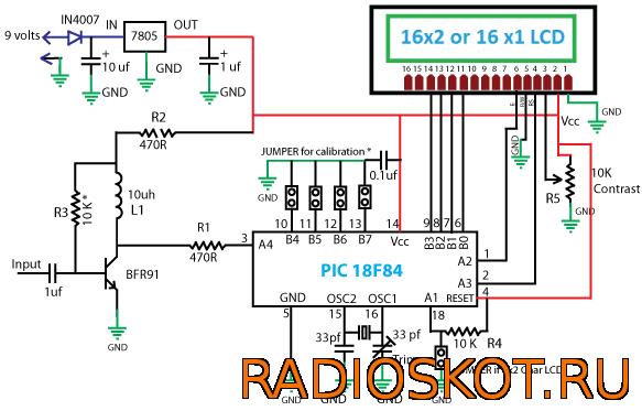 Схема простого частотомера