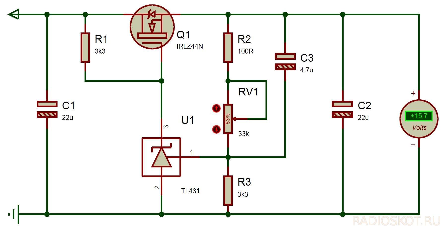 Схема зарядного на мощных транзисторах