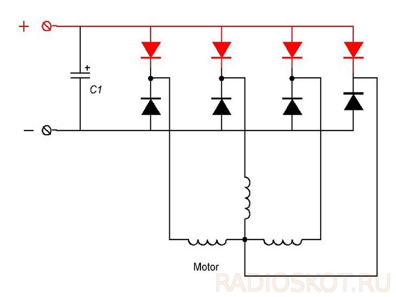Схема подключения электродвигателя как генератор