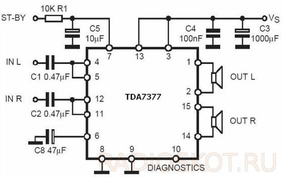 МИКРОСХЕМЕ TDA7377 - схема