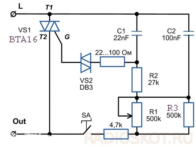 Схема регулятора температуры выжигателя