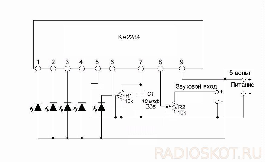 Цветомузыка на микросхеме индикаторе уровня схема