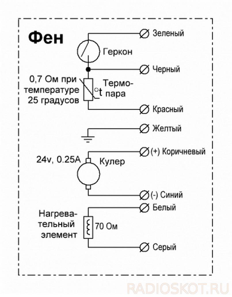 Схема термовоздушного паяльного фена