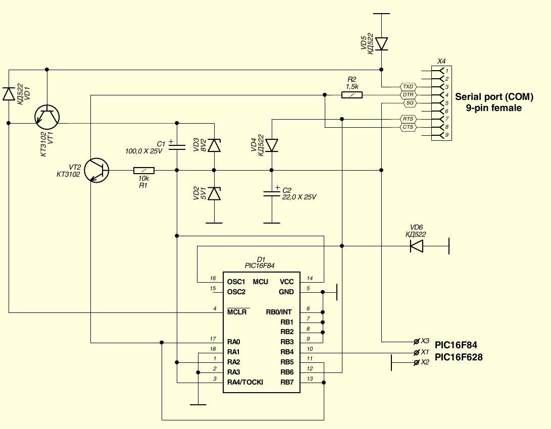 схема usb осциллограф на pic18 f2550