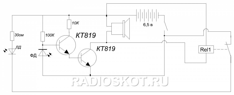 Схема простой лазерной сигнализации.