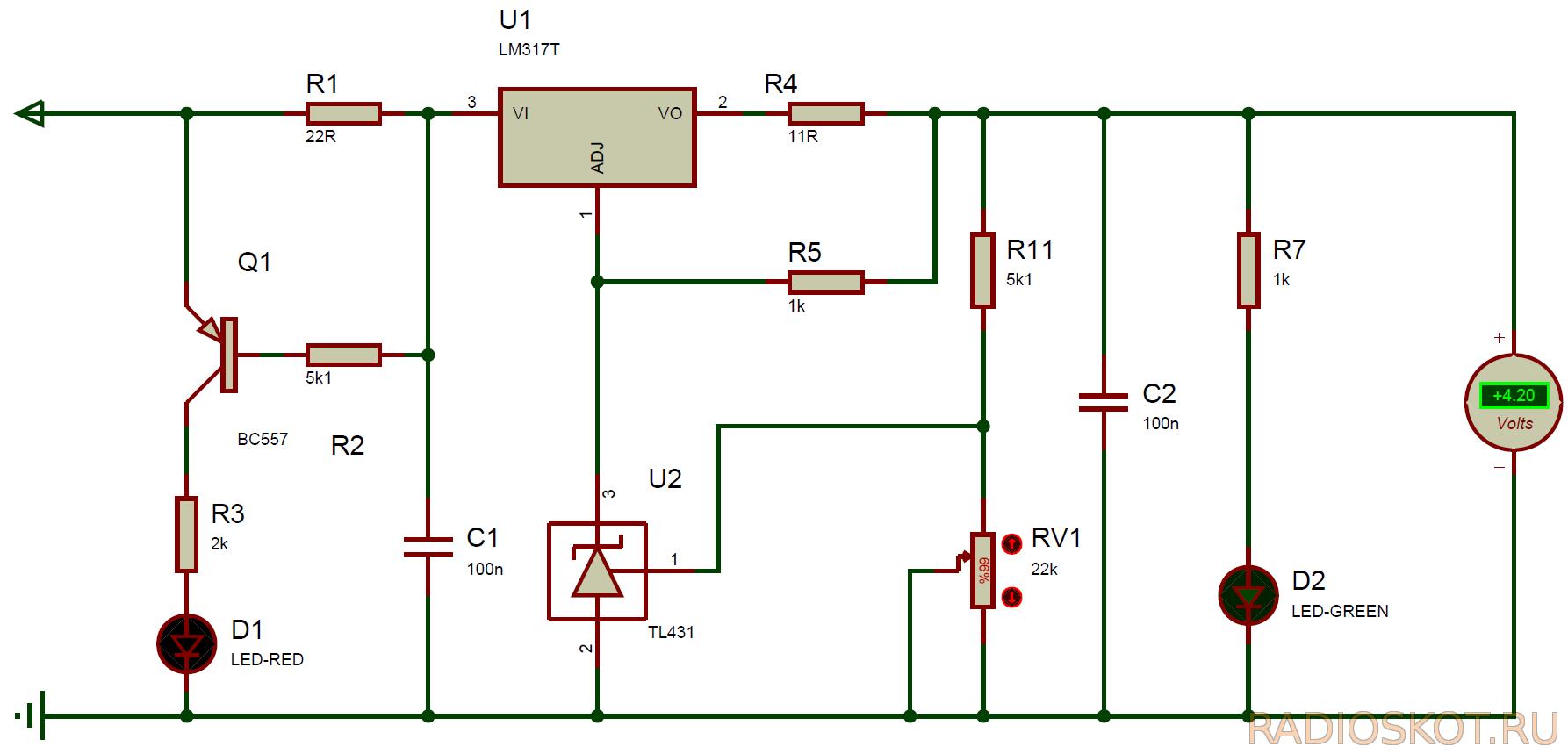 Схема контроллера литий-ионного аккумулятора мобильного телефона